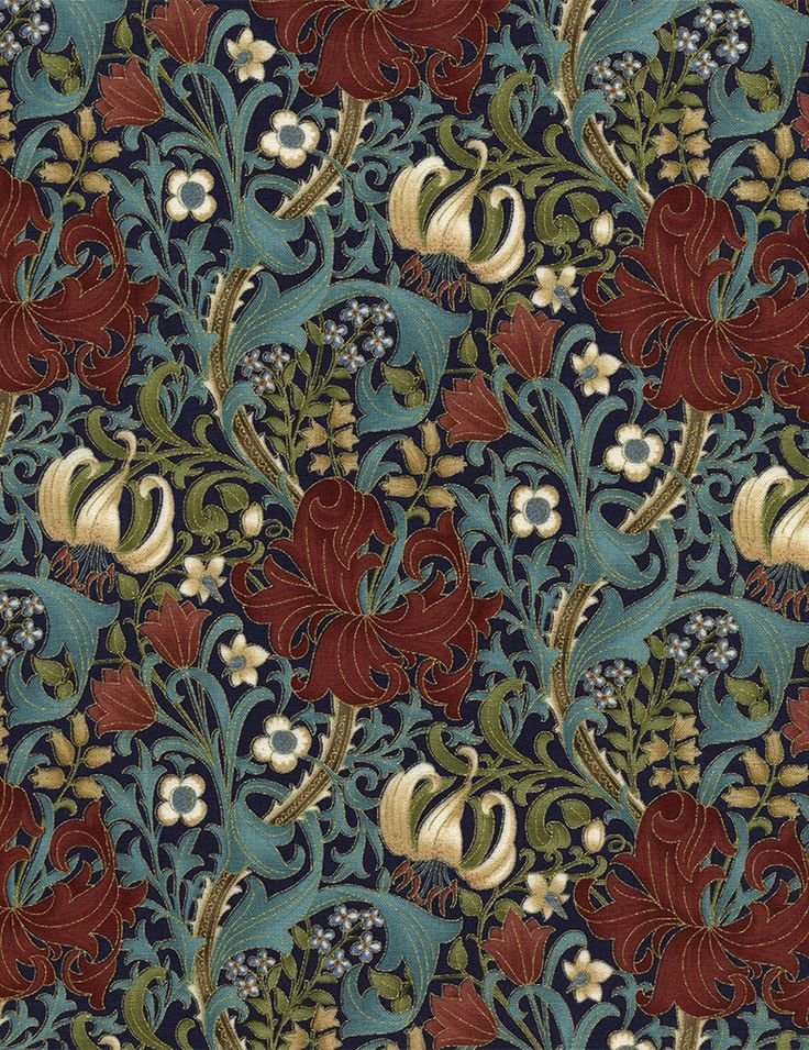 Essex - large metallic floral on navy