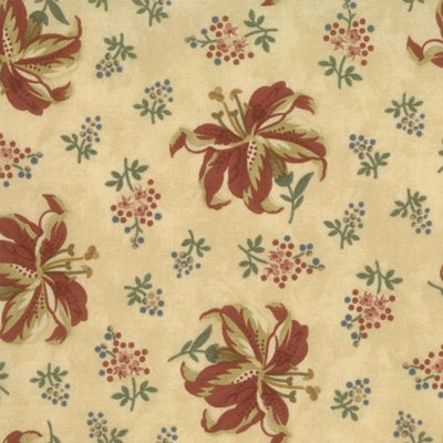 Kansas Winter large red floral cream background