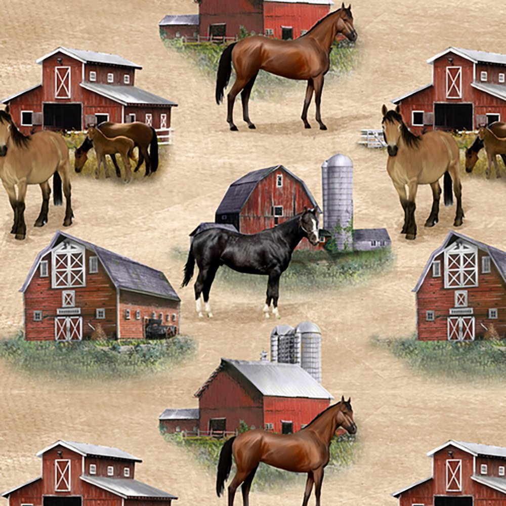 Country paradise horses and barns print