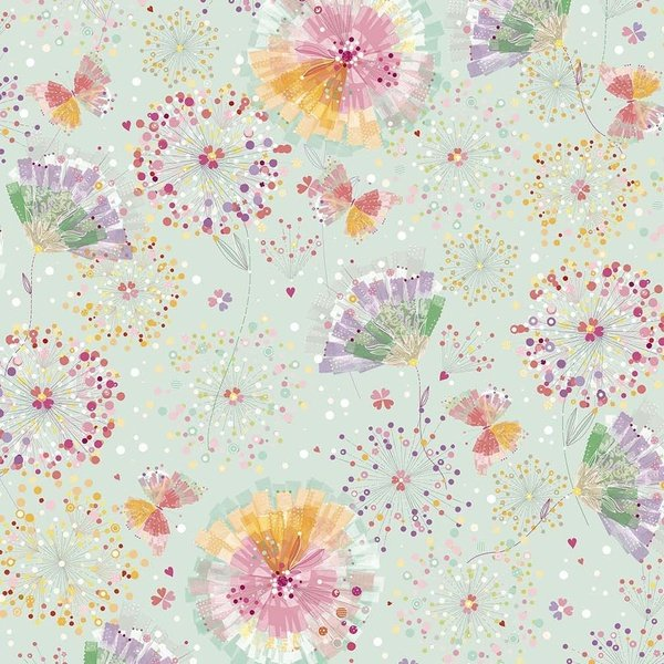 Confetti Blossoms - flower blasts on soft aqua