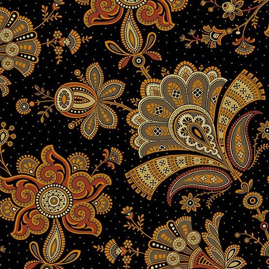 Emma jacobean floral black paisley