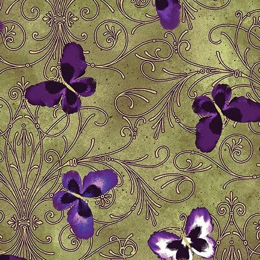 Pansy Noir metallic green with butterflies
