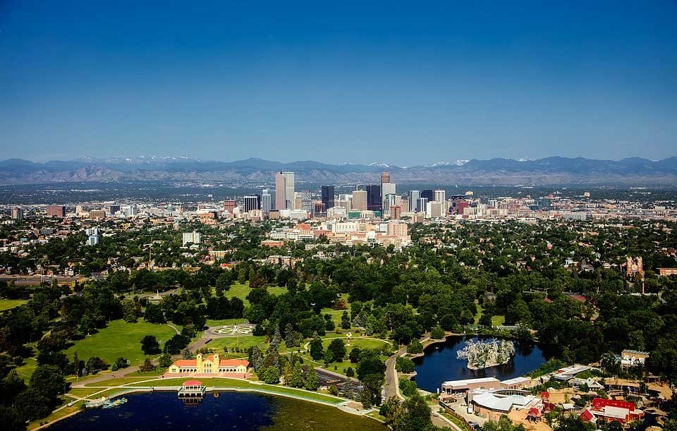 Arial view of Denver CO