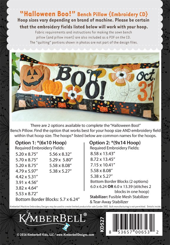 Holloween Boo! Bench Pillow