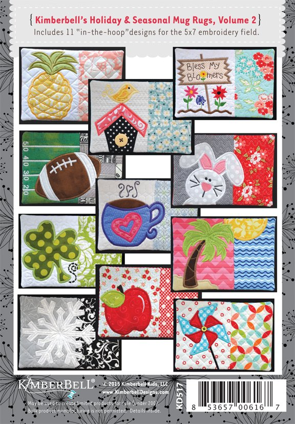 Holiday & Seasonal Mug Rugs, Volume #2 By Kimberbell