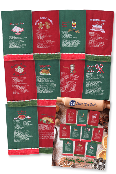 Holiday Recipe Towels <br> By Lunch Box Quilts