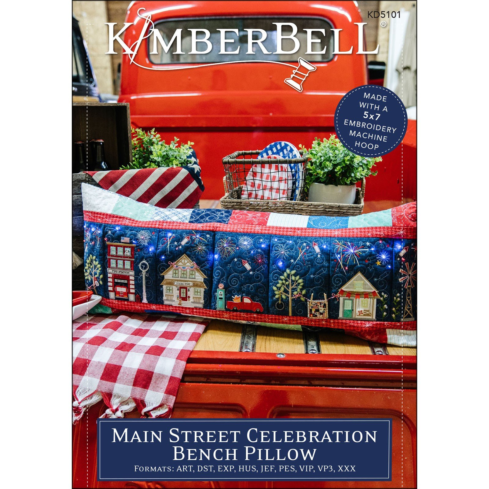 Main Street Celebration Bench Pillow (Embroidery CD) by Kimberbell