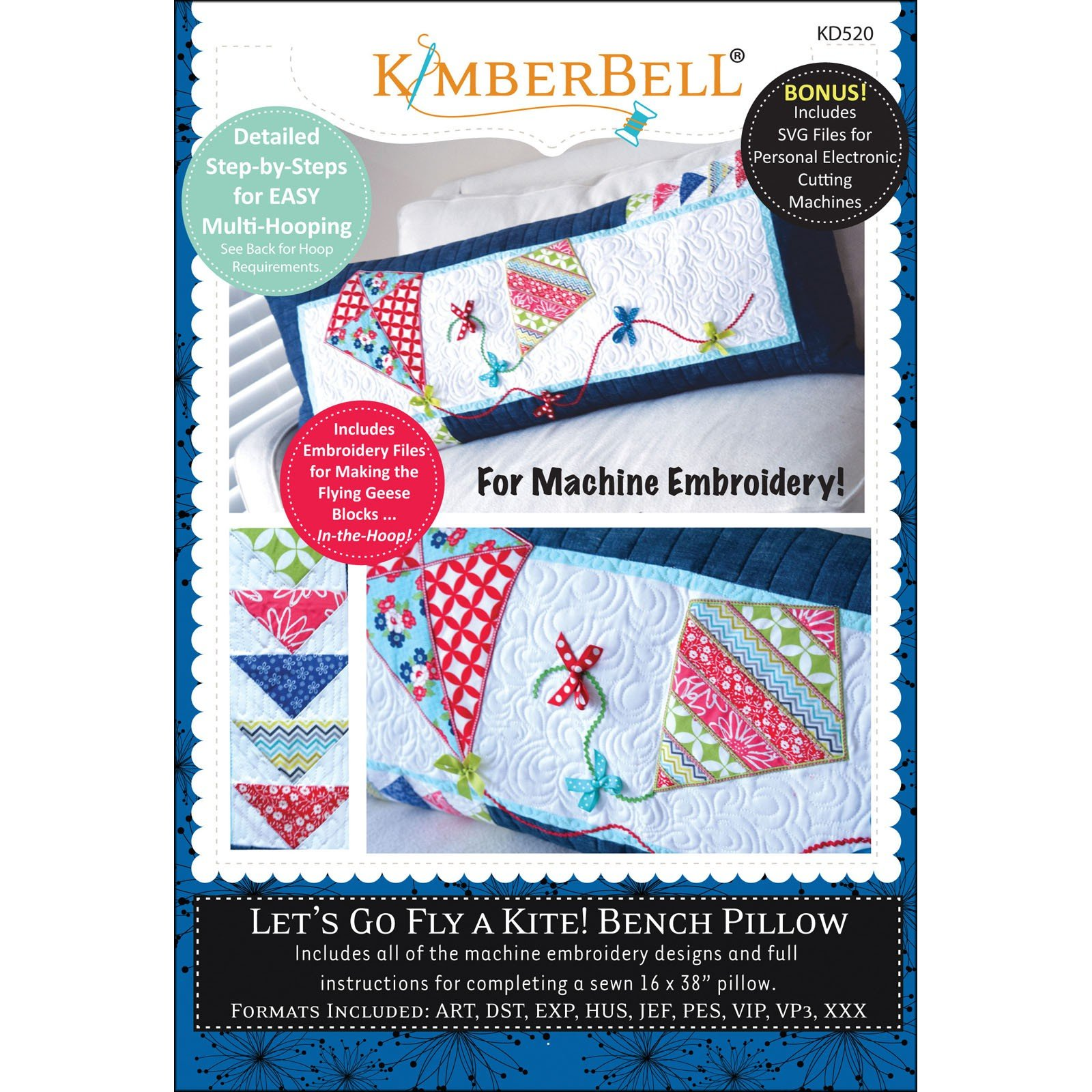 Let's Go Fly A Kite! Bench Pillow Kimberbell Embroidery CD