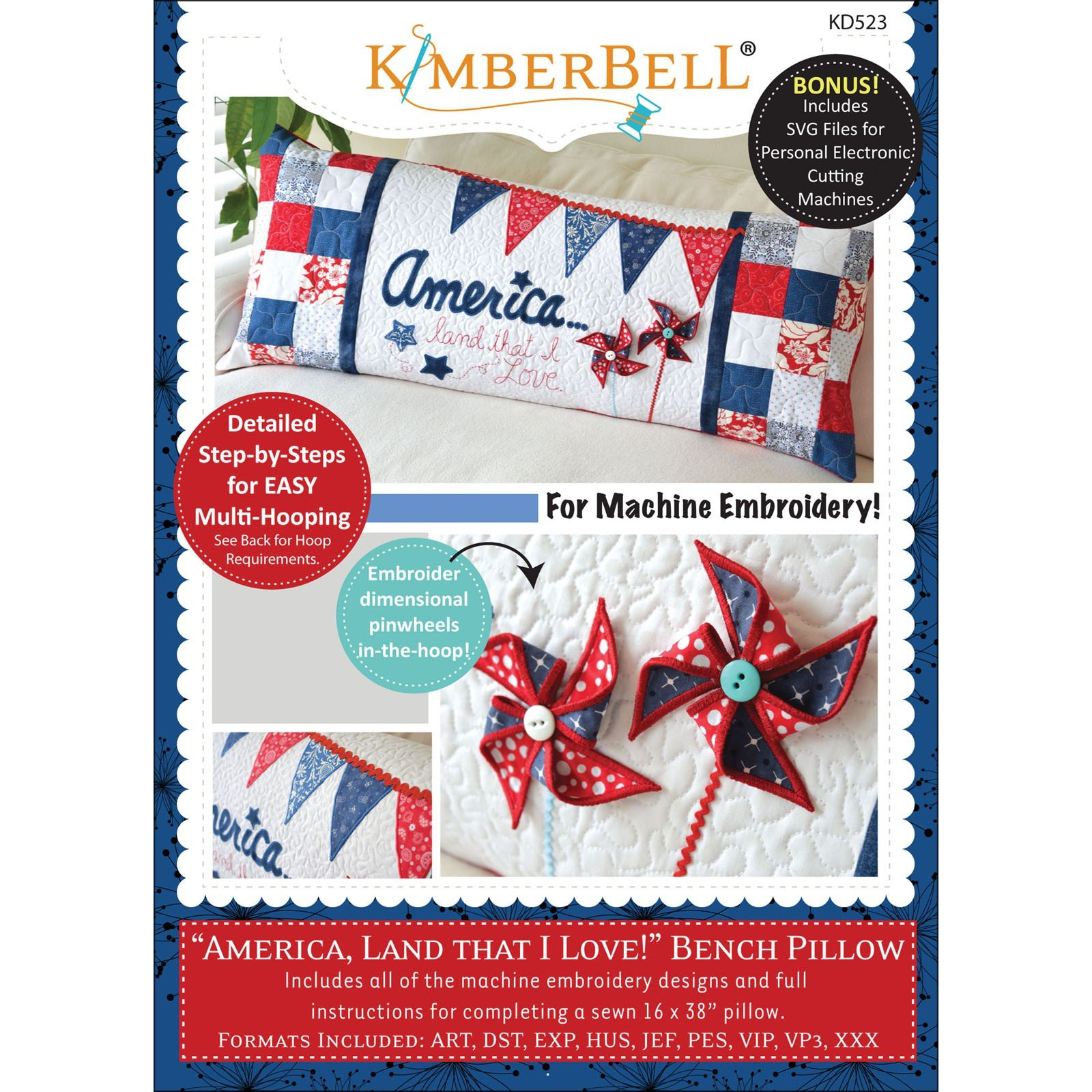 America Land I Love! Bench Pillow Kimberbell Embroidery CD