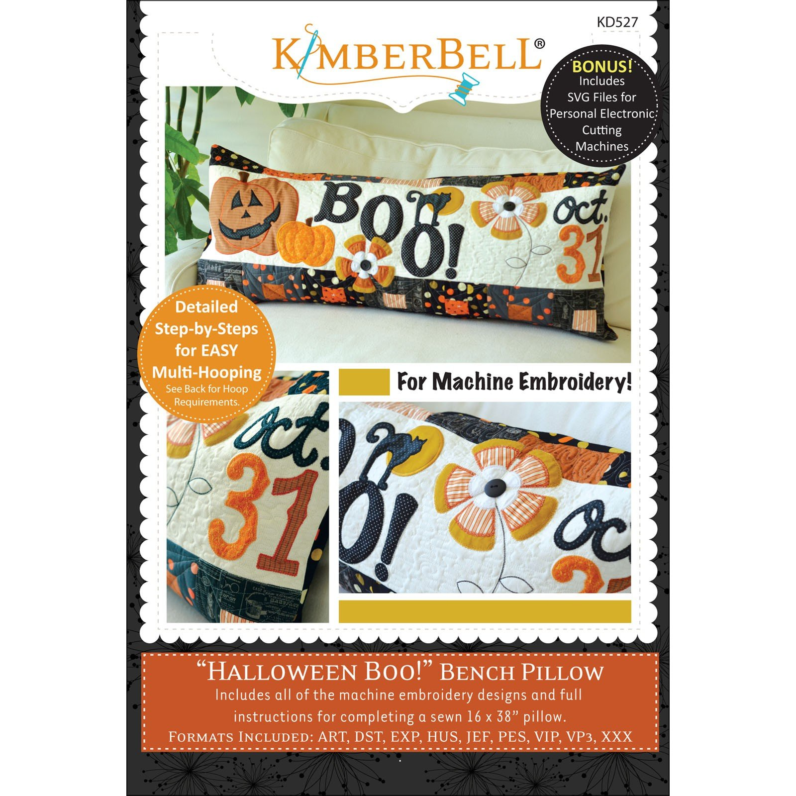 Halloween Boo! Bench Pillow (Embroidery CD) by Kimberbell