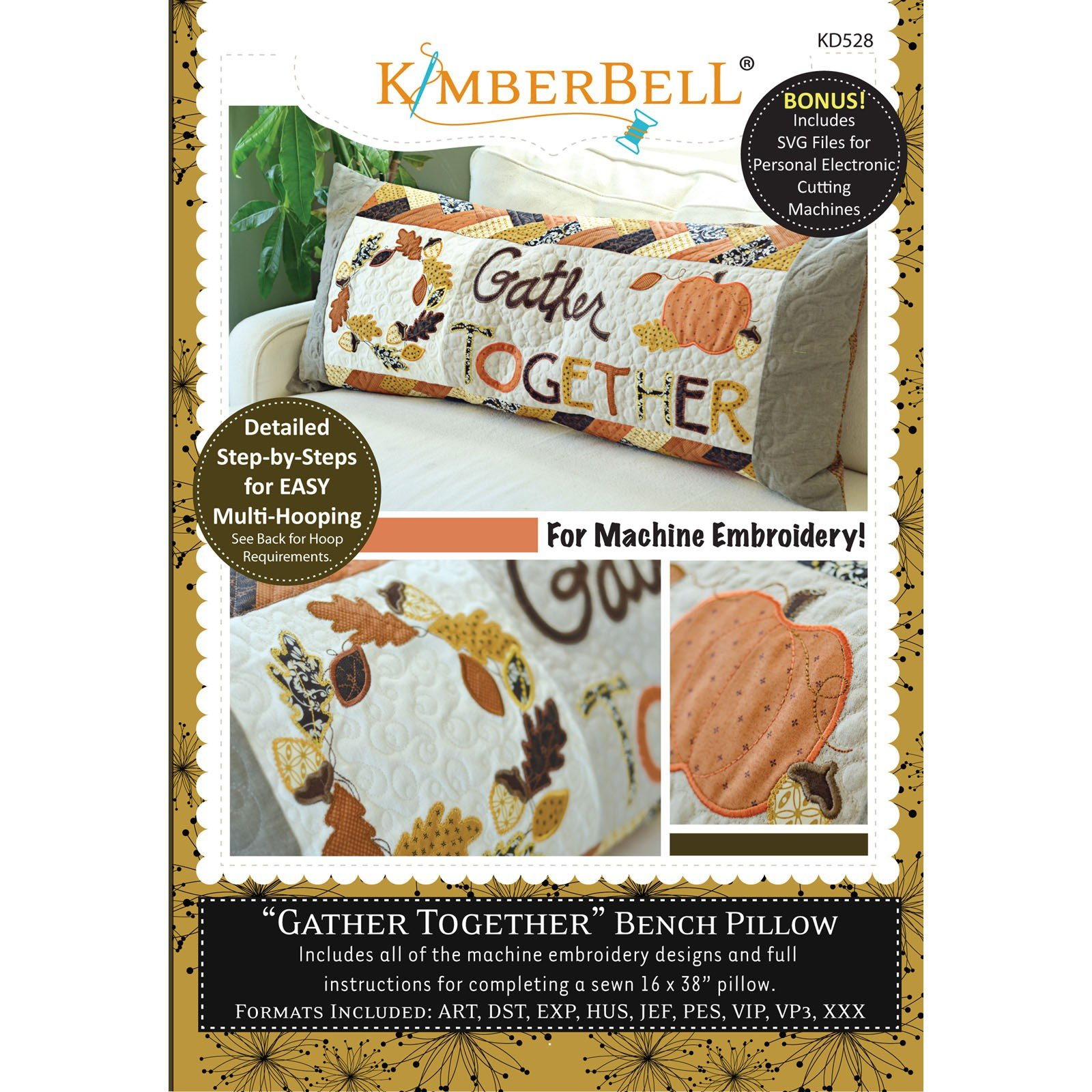 Gather Together Bench Pillow (Embroidery CD) by Kimberbell