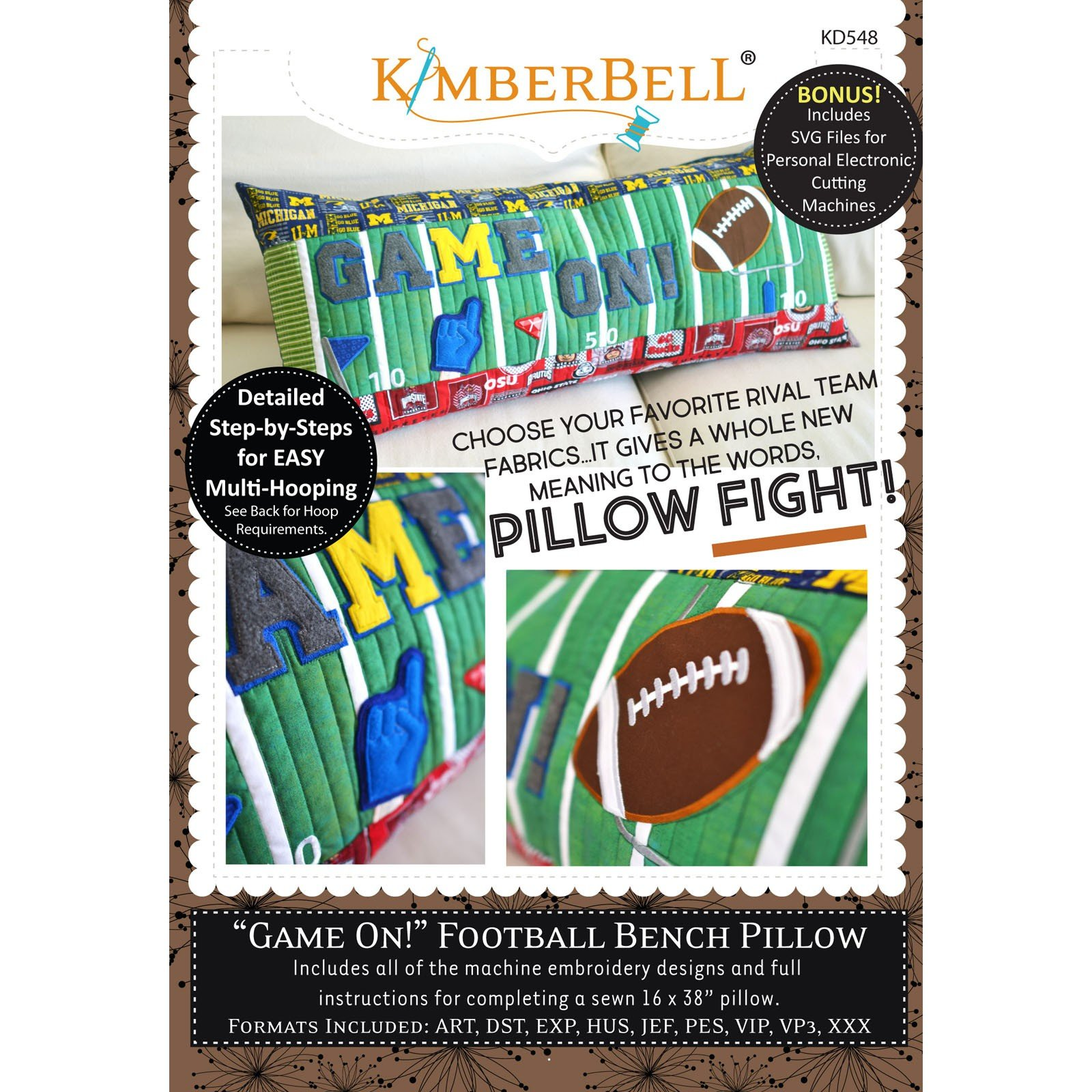 Game On! Football Bench Pillow (Embroidery CD) by Kimberbell