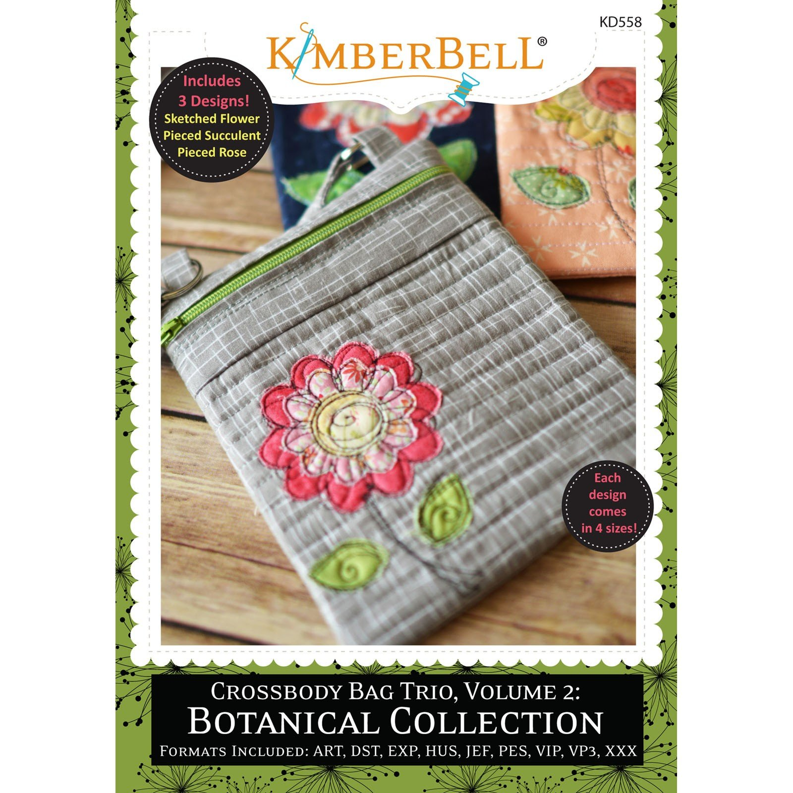 Crossbody Bag Trio, Vol.2: Botanical Collection (Embroidery CD) by Kimberbell