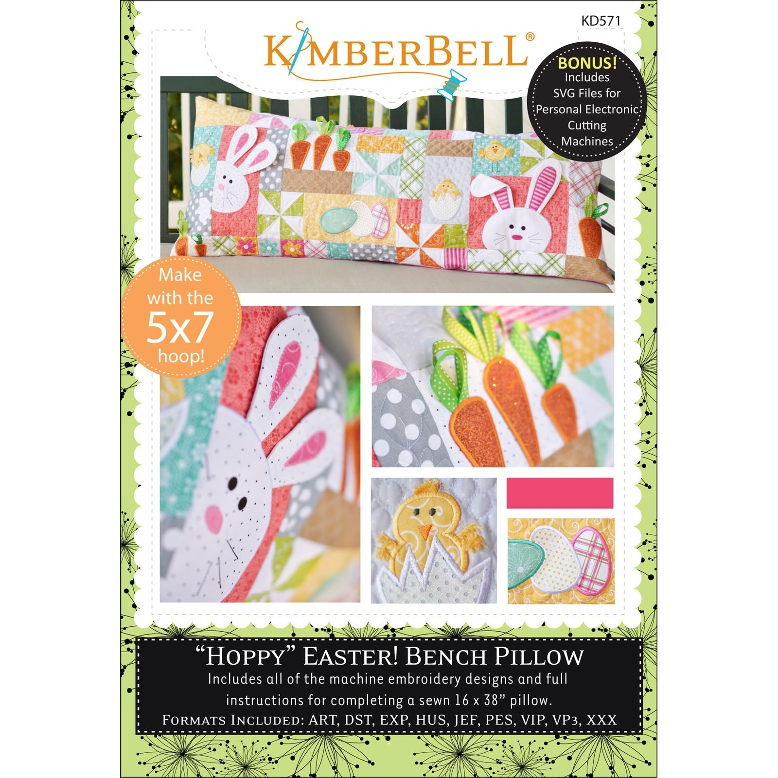 Hoppy Easter Bench Pillow (Embroidery CD) by Kimberbell