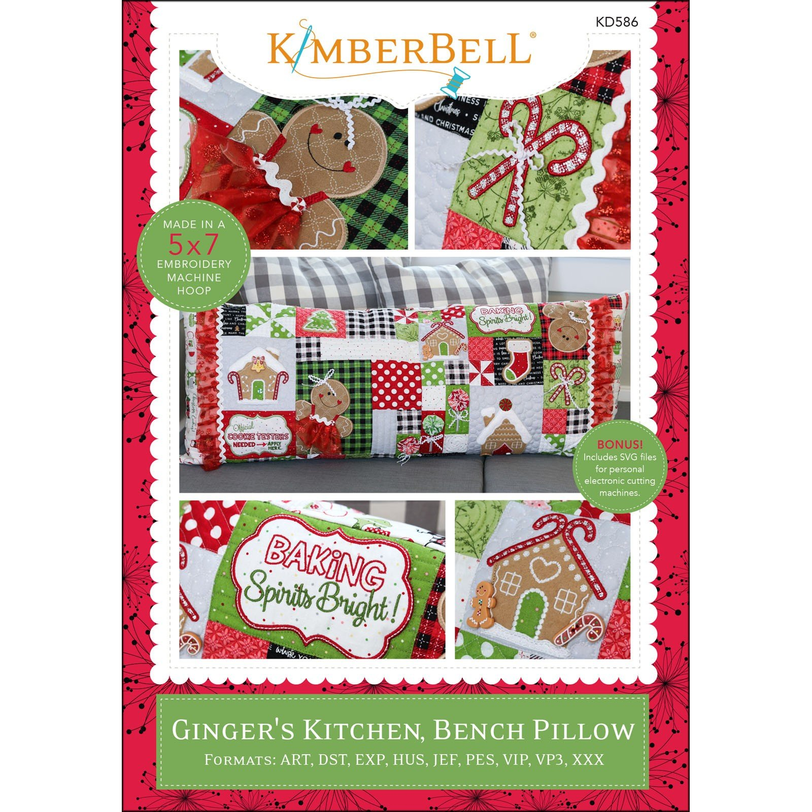 Ginger's Kitchen Bench Pillow (Embroidery CD) by Kimberbell