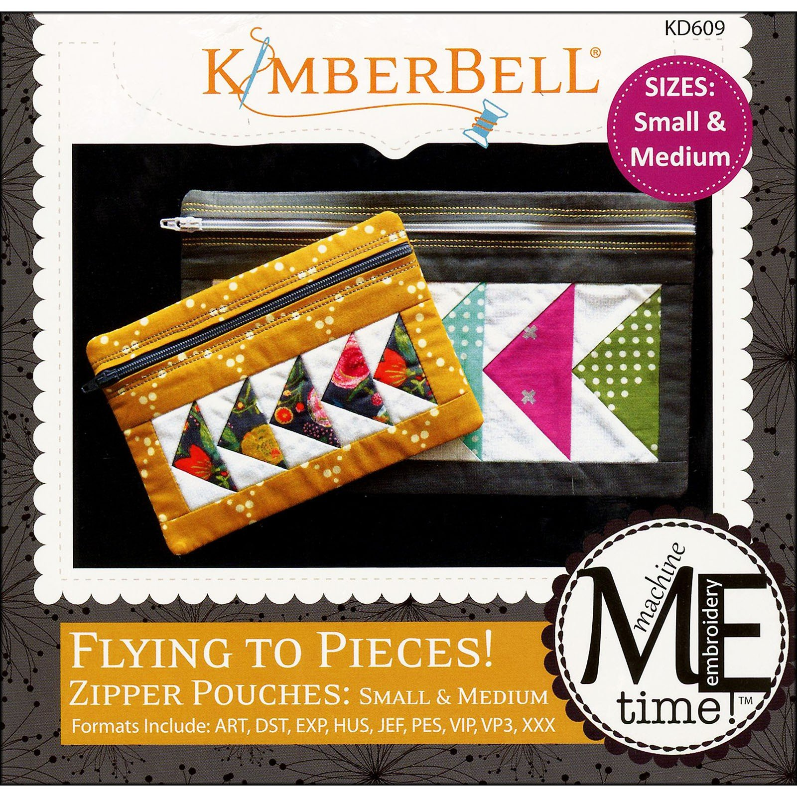 Flying to Pieces! Zipper Pouches (Small/Medium) Embroidery CD by Kimberbell