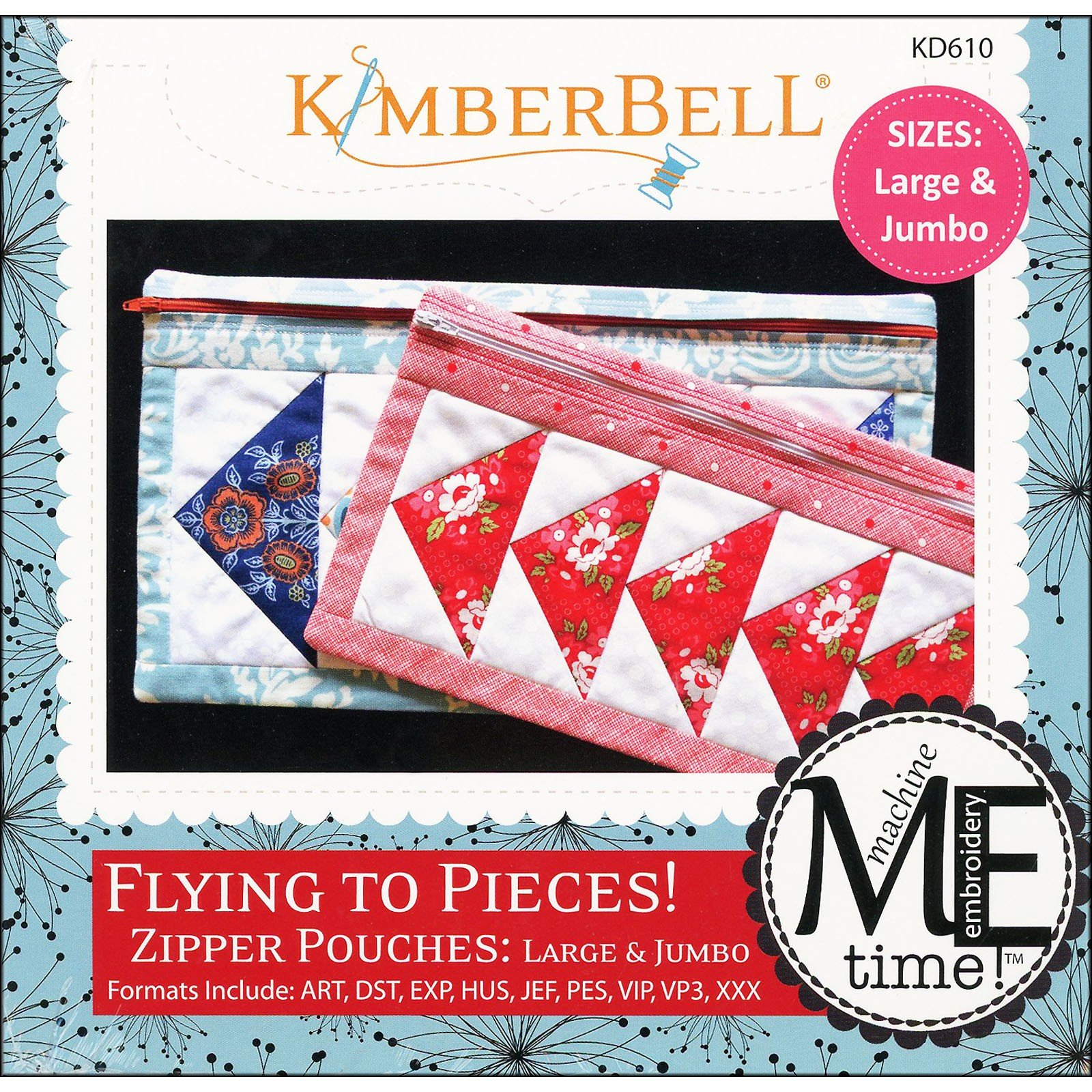 Flying to Pieces! Zipper Pouches (Large/Jumbo) Embroidery CD by Kimberbell