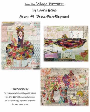 Teeny Tiny Collage Patterns Group 1 - Dress-Fish-Elephant by Laura Heine 7246967...