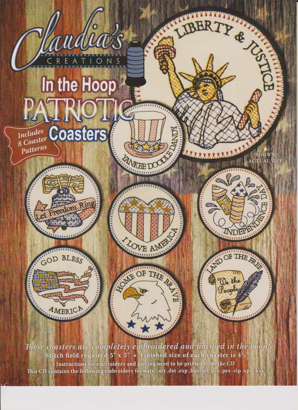 From Claudia/'s Creations PATRIOTIC COASTERS HAND EMBROIDERY PATTERN CD
