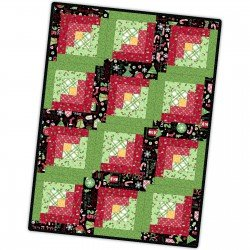 Jingle All The Way 12 Block Log Cabin Quilt (POD-MAS02-JAW)