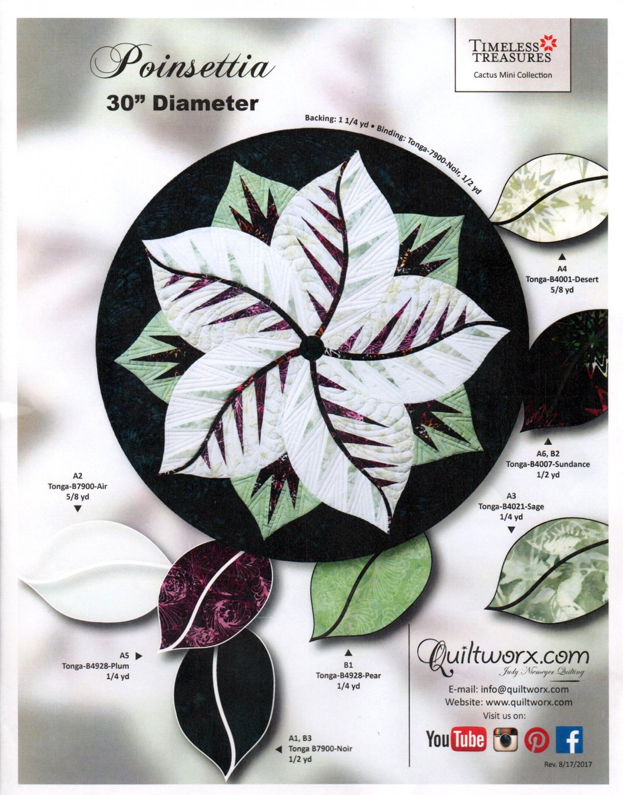 Poinsettia  Fabric Quilt Kit