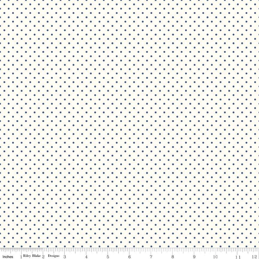 Swiss Dot (C600-21)  Navy Dots on Cream Background