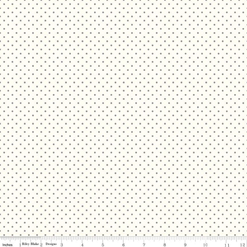Swiss Dot (C600-40) Gray Dots on Cream Background
