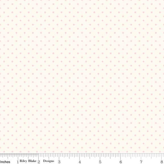 Swiss Dot (C600-75)  Baby Pink Dots on Cream Background