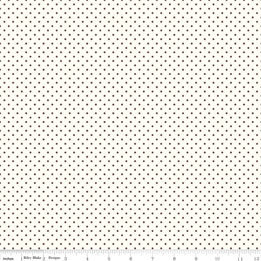 Swiss Dot (C600-90)  Brown Dots on Cream Background
