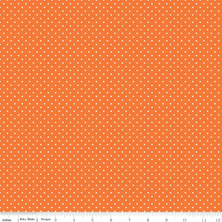 Swiss Dot (C670-60)  White Dots on Orange