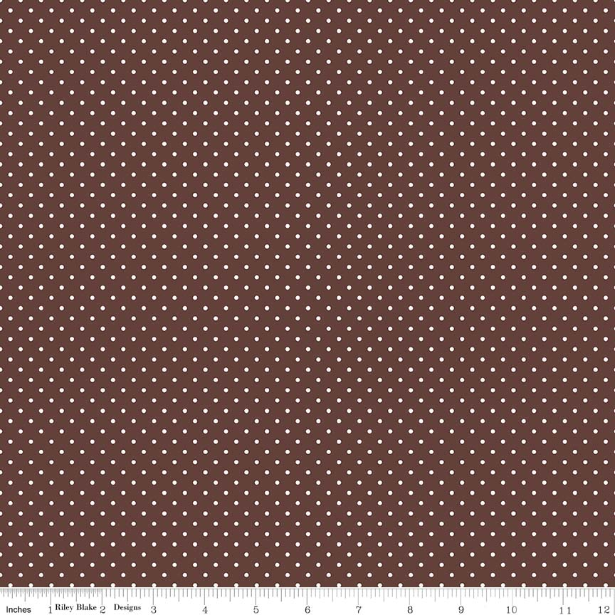 Swiss Dot (C670-90)  White dots on Brown