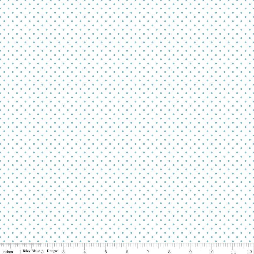 Swiss Dot (C660-20)  Aqua Dots on White Background