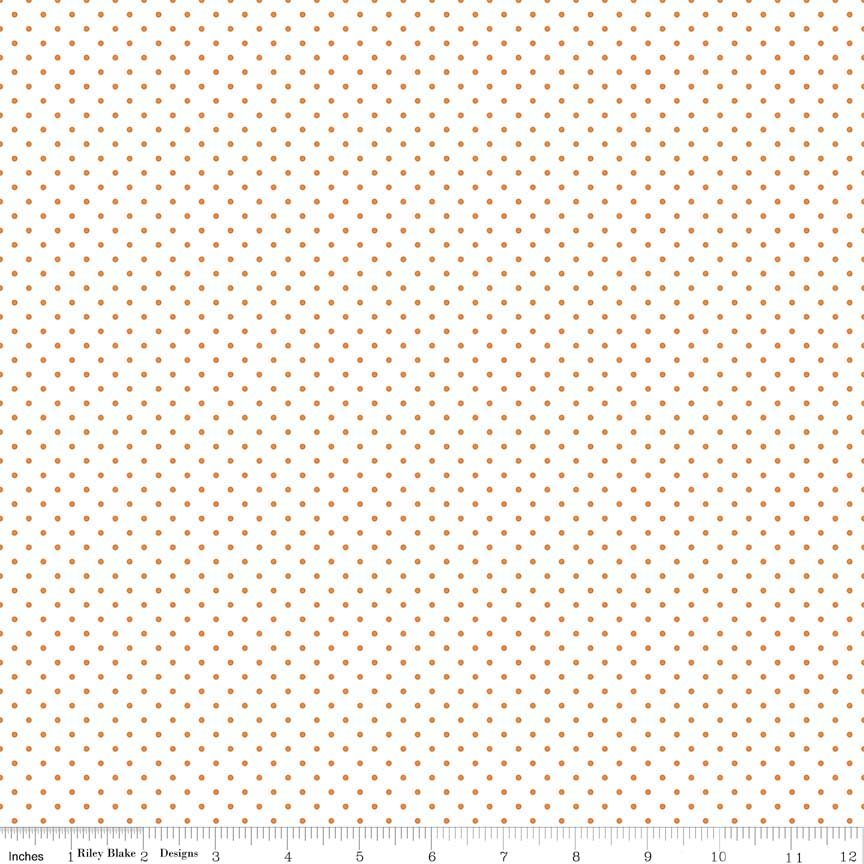 Swiss Dot (C660-60) Orange Dots on White Background