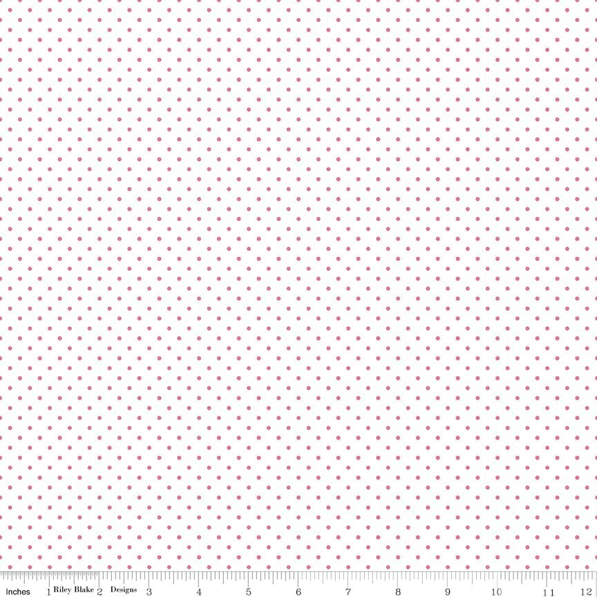 Swiss Dot (C660-70) Hot Pink  Dots on White Background