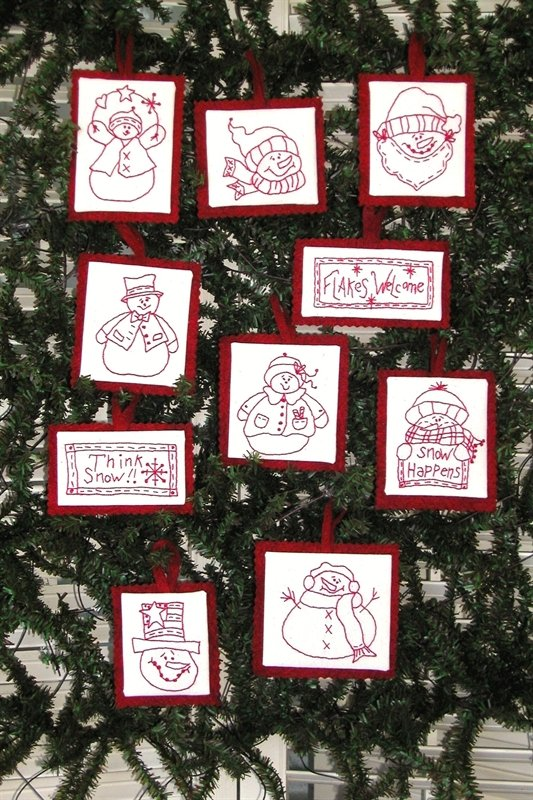 Snowmen Redwork Ornaments