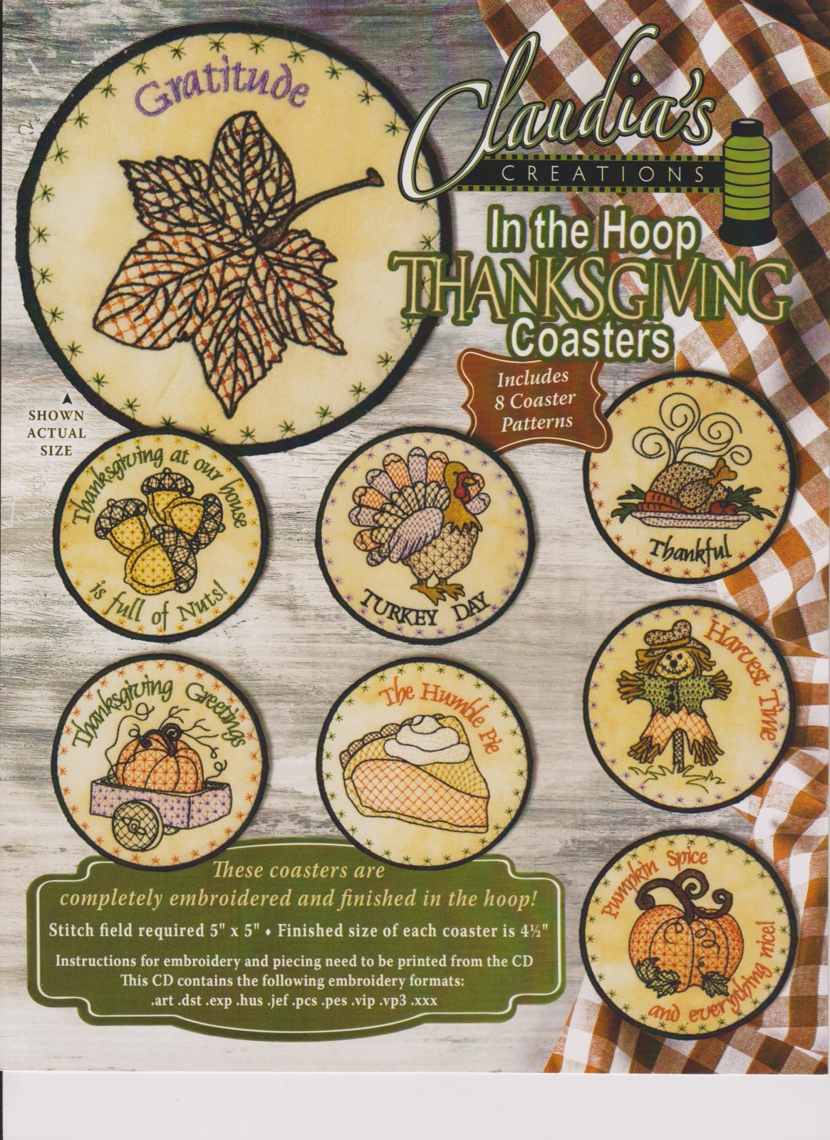 In The Hoop Thanksgiving  Coasters <br> Claudia's Creations