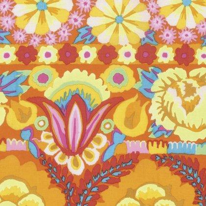 Kaffe Artisan Embroidered Flower Border-Blue