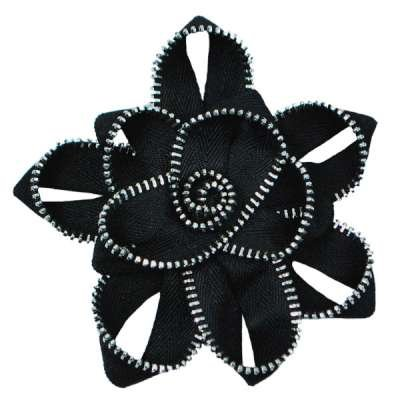 Zipper Dimensional Flower Brooch
