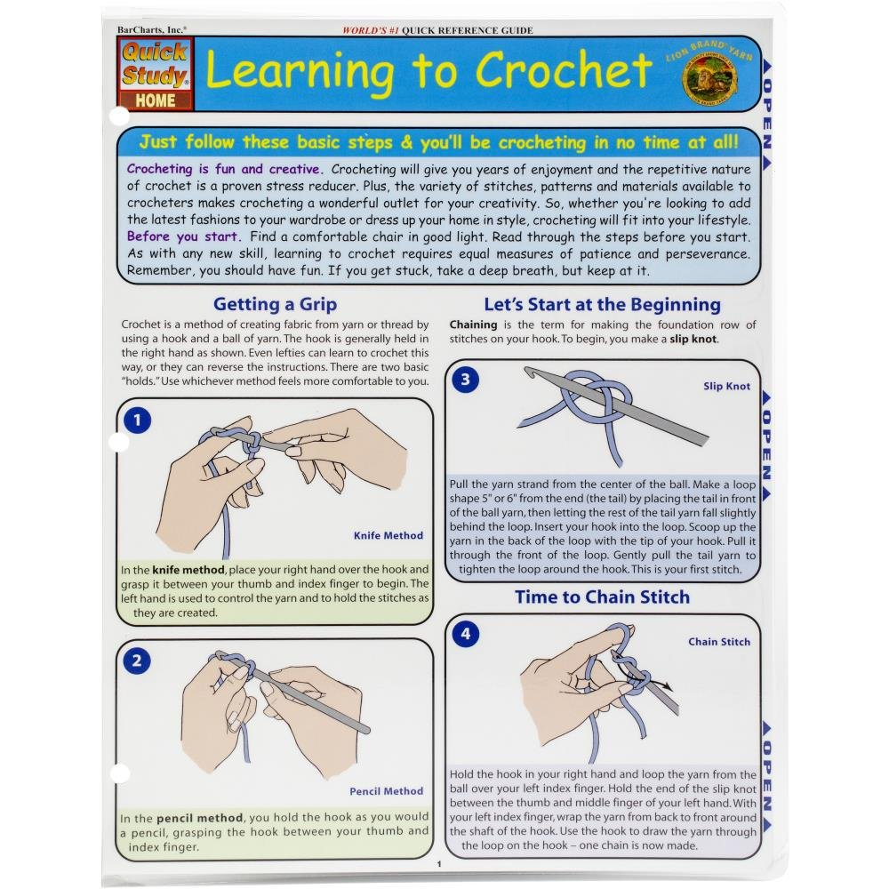 Learning To Crochet- quick Reference Guide