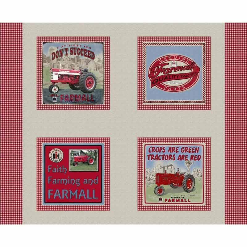 Farmall Country Check Pillow Panel