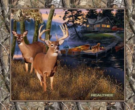 Lakeside Sunset W/Deer Panel