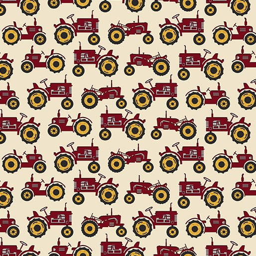 Quilt Barn Prints from Benartex #10194 19- Tractor- Cream/Red