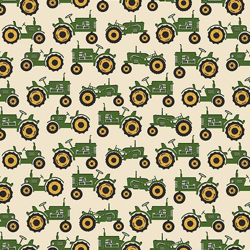 Quilt Barn Prints from Benartex #10194 40- Tractor- Cream/Green
