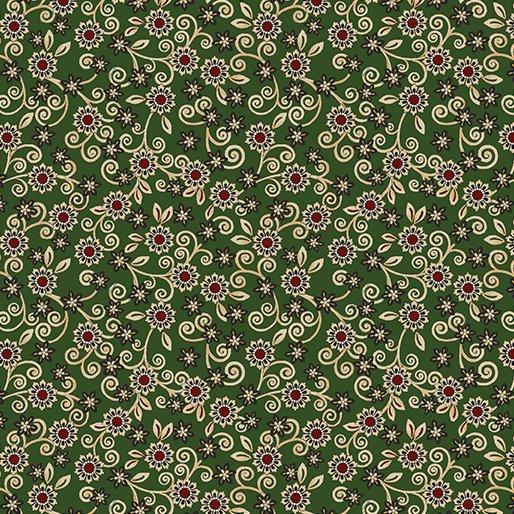 Quilt Barn Prints from Benartex #10196 44- Lititz Floral Green
