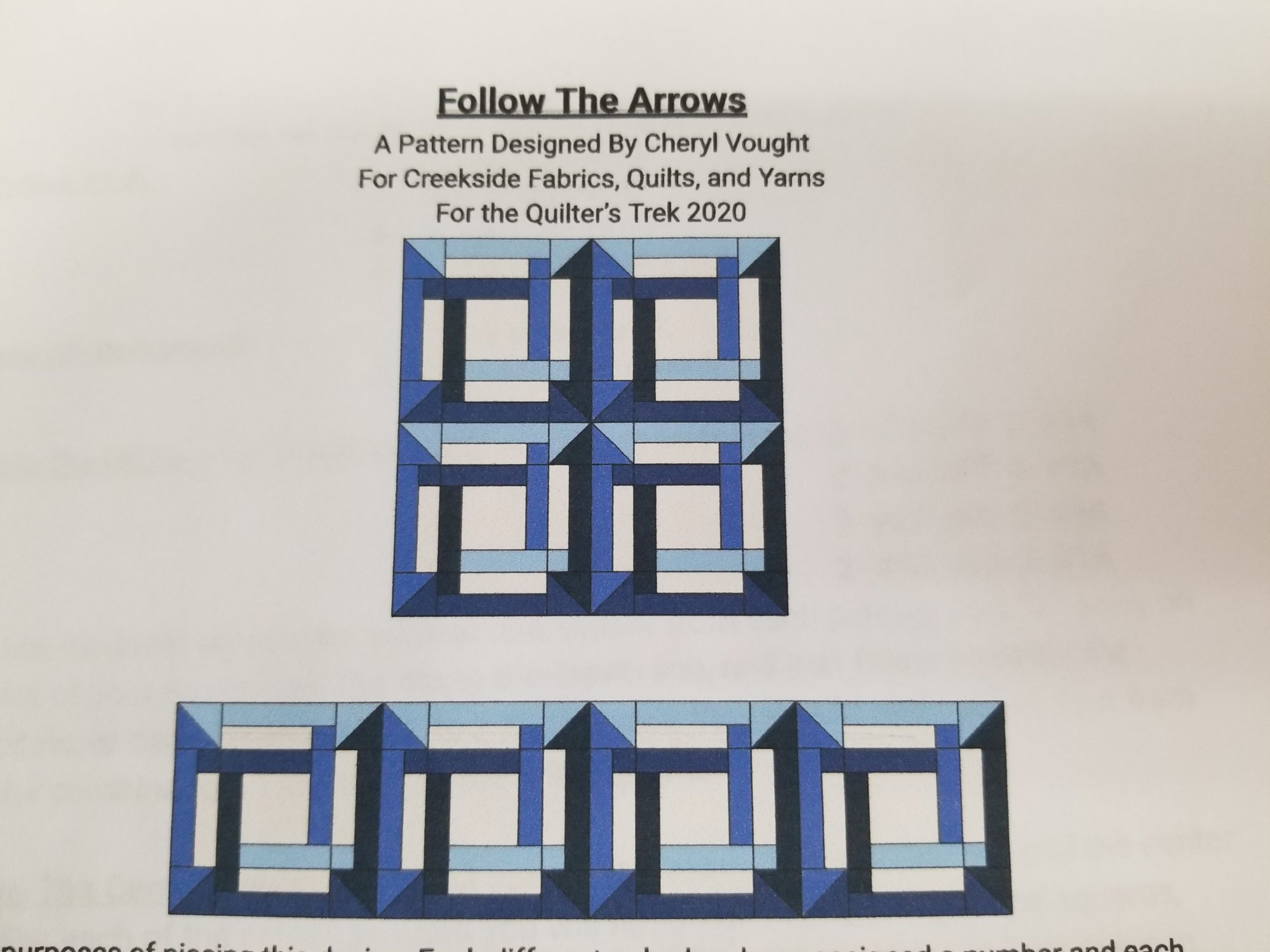 Quilter's Trek 2020 True Blue- Follow The Arrows Quilt Block Kit (Formerly Row By Row)