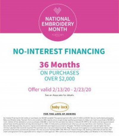 36 Month Interest Free Financing at Creekside Fabrics, Arcade, NY with approval