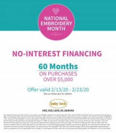 60 Month Interest Free Financing with Creekside Fabrics, Arcade, NY with approval