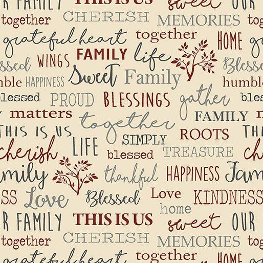 Quilt Barn Prints from Benartex #6844 71- Family Words- Beige