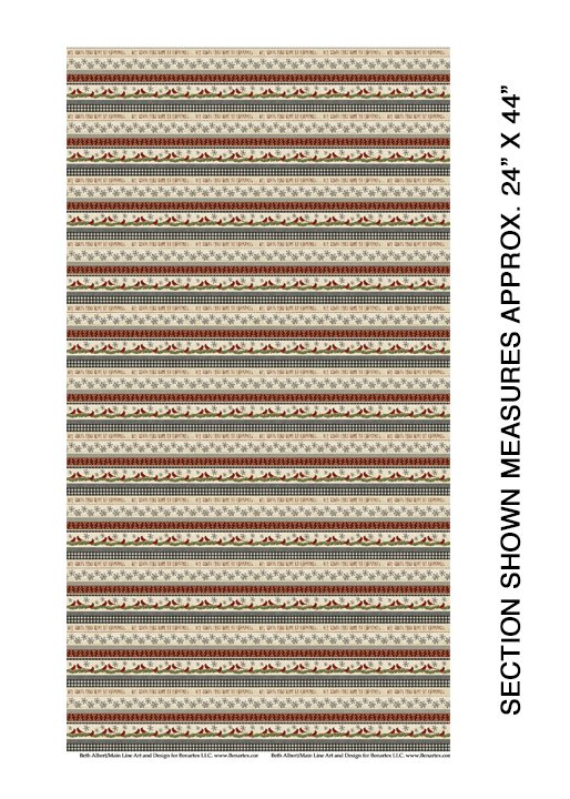 Snow Village from Benartex #6882-76- Snow Village Border Stripe- Beige