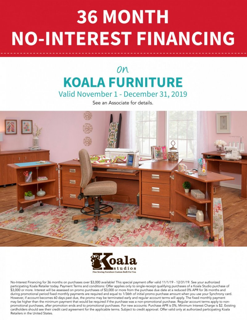 No interest financing on Koala Furniture
